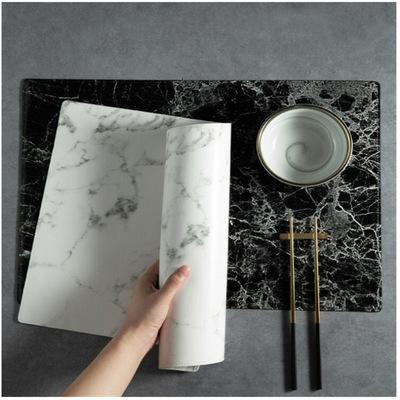 现货黑白大理石纹西餐垫 皮革餐桌隔热垫 厨房防烫餐垫 家具餐垫