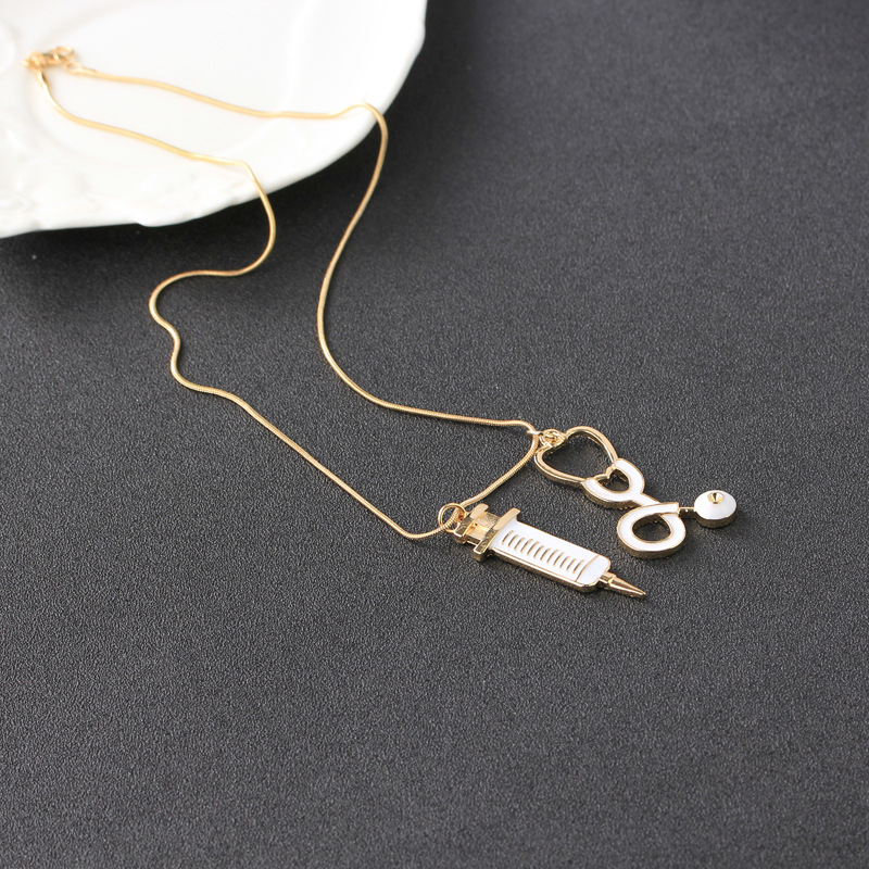 New Medical Equipment Necklace Periphery Doctor Syringe Stethoscope Necklace wholesale nihaojewelry NHCU232174