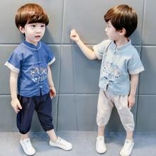 儿童唐装男童汉服夏季中国风女童宝宝复古童装棉麻短袖休闲民族风