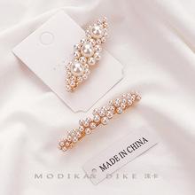 韓國復古大花發夾女 網紅小花彈簧夾少女夾子頭飾 珍珠發卡邊夾