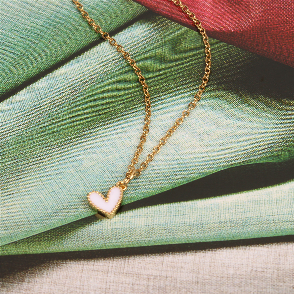 Womens Heart-Shaped Stainless Steel Necklaces NHPY134760
