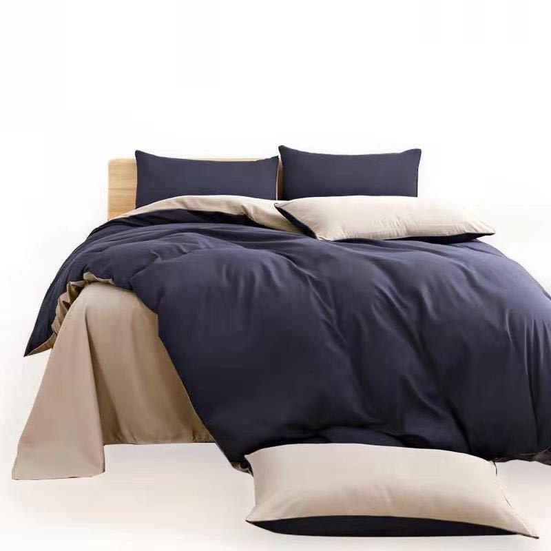 厂家直销床上用品磨毛四件套纯色双拼芦荟棉床单被套四件套批发