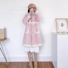 冬装中长款软妹水貂毛外套女2019新款宽松毛茸茸少女大衣