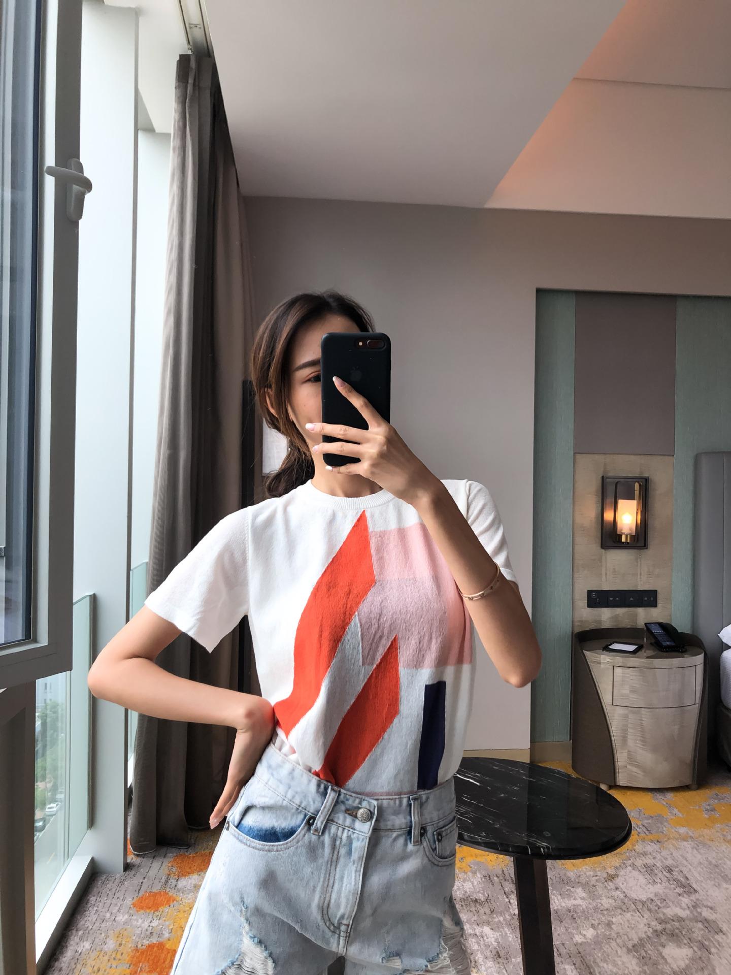 【A76】白色红条纹短袖T恤——0715