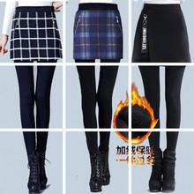 加絨假兩件打底褲女外穿秋冬季加厚包臀裙褲踩腳顯瘦高腰保暖長褲