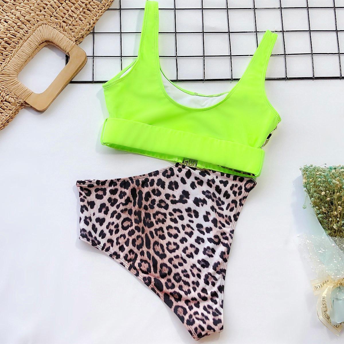 leopard print stitching bikini NSDA1681