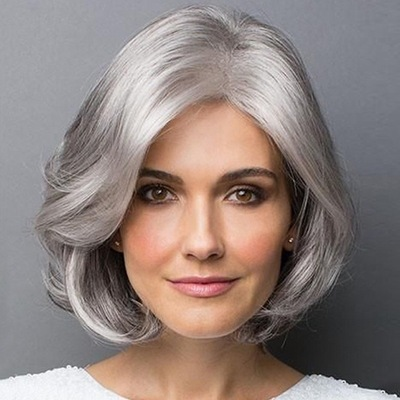 Bob Hair Wigs Perruques Bob Hair Pelucas De Cabello Bob Wig womens hair silver gray short curly hair fluffy realistic Bobo head short hair