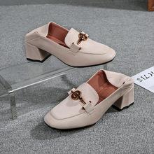 大码41-43方头单鞋女粗跟中跟2019春秋新款百搭小皮鞋小码女鞋子