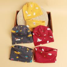 19秋冬季卡通儿童套头帽围巾脖套两件套印花婴儿宝宝帽子围脖套装