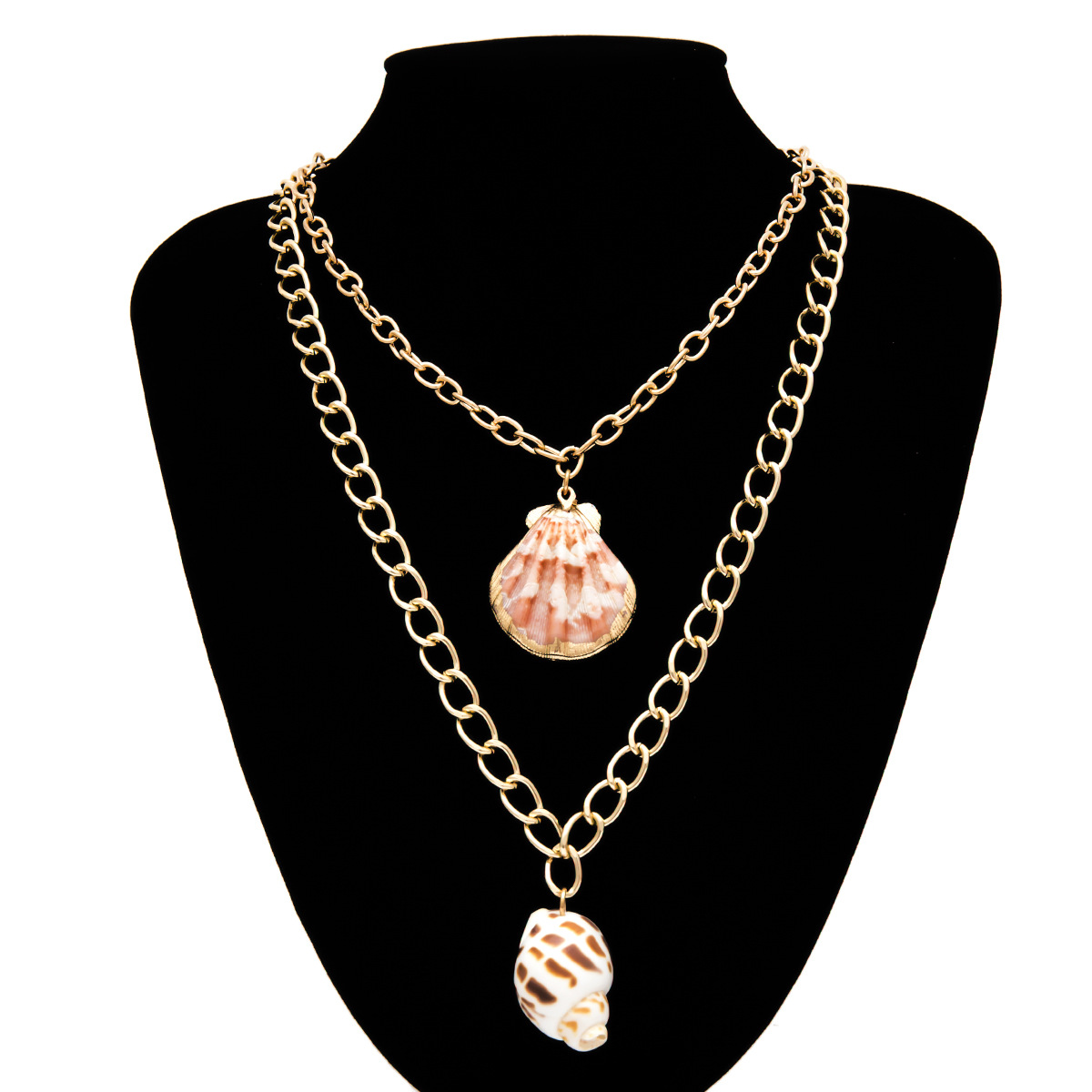 Creative beach shell double layer Necklaces NHXR127779