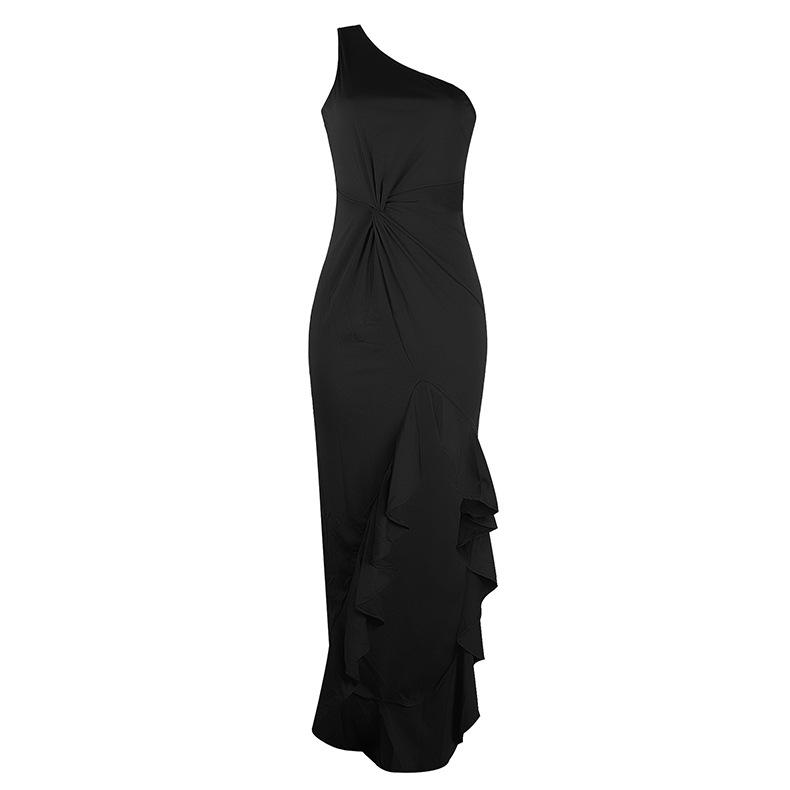 new split ruffled flounce evening dress  NSKX6225