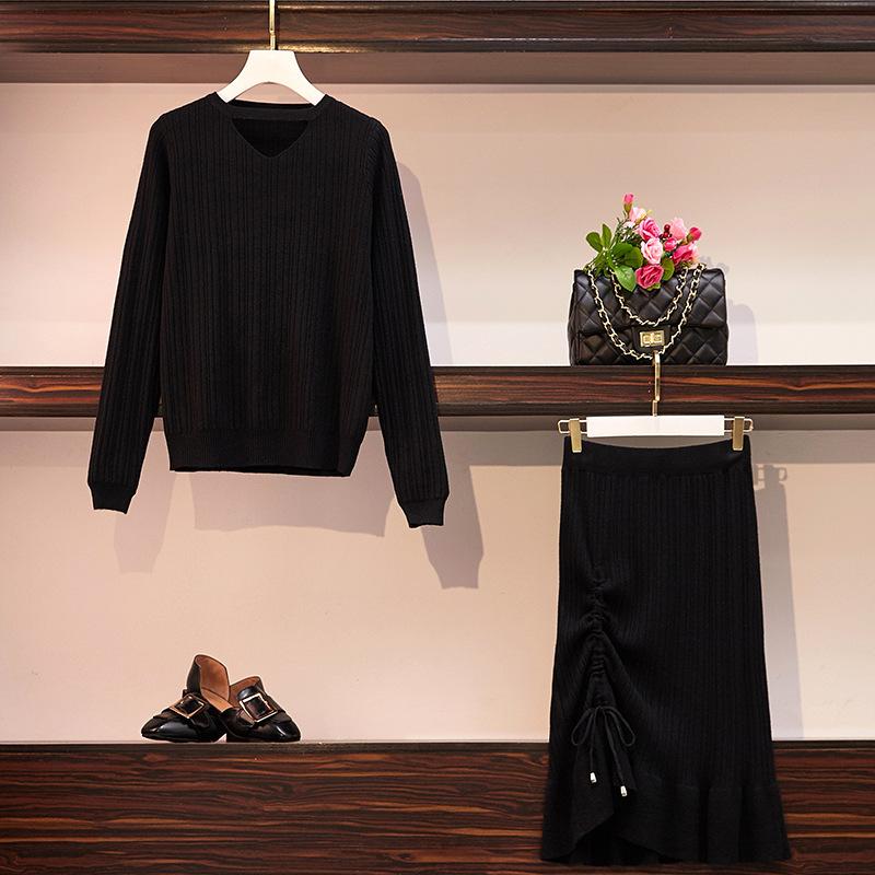 胖mm秋冬新款性感一字带毛衫+抽绳半裙两件套套装大码女装跨境代