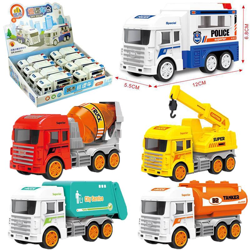货源地 儿童惯性玩具车模型 惯性仿真工程车玩具警车环卫车挖掘机