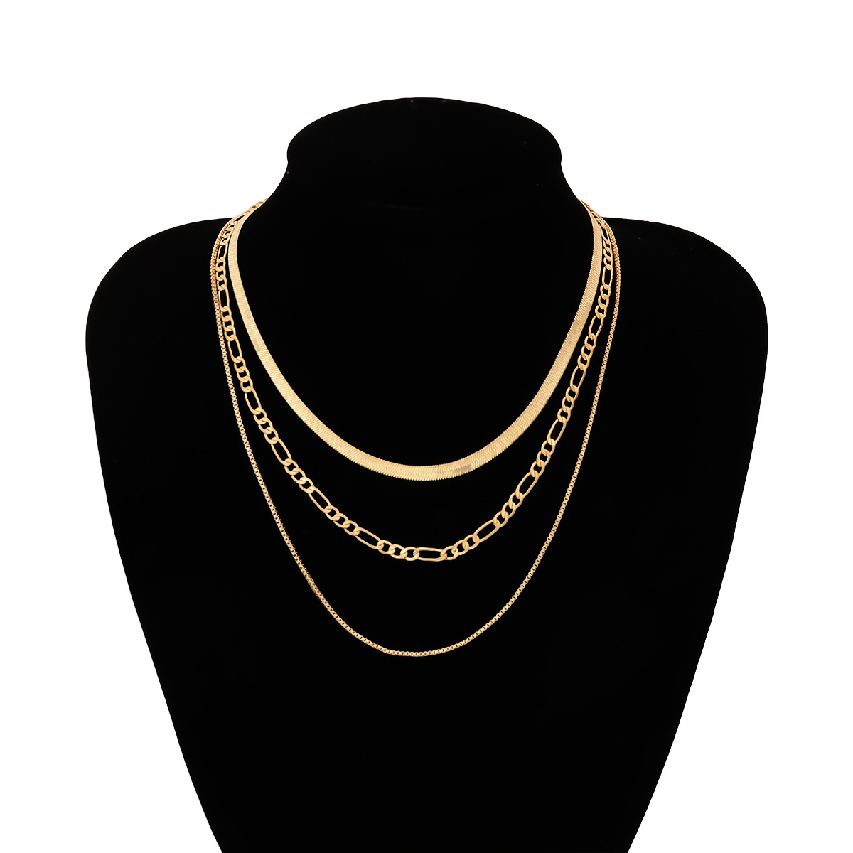 Jewelry Punk Metal Snake Bone Chain Necklace Female Geometric Chain Mashup Box Chain Necklace NHXR185498