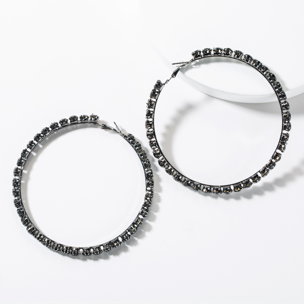 Fashion black rhinestone large circle studded hoop earrings NHJE149447
