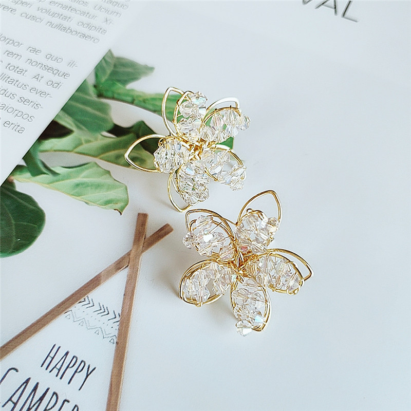 Fashion Crystal Flower Exaggerated Earrings Wholesale NHVA195724