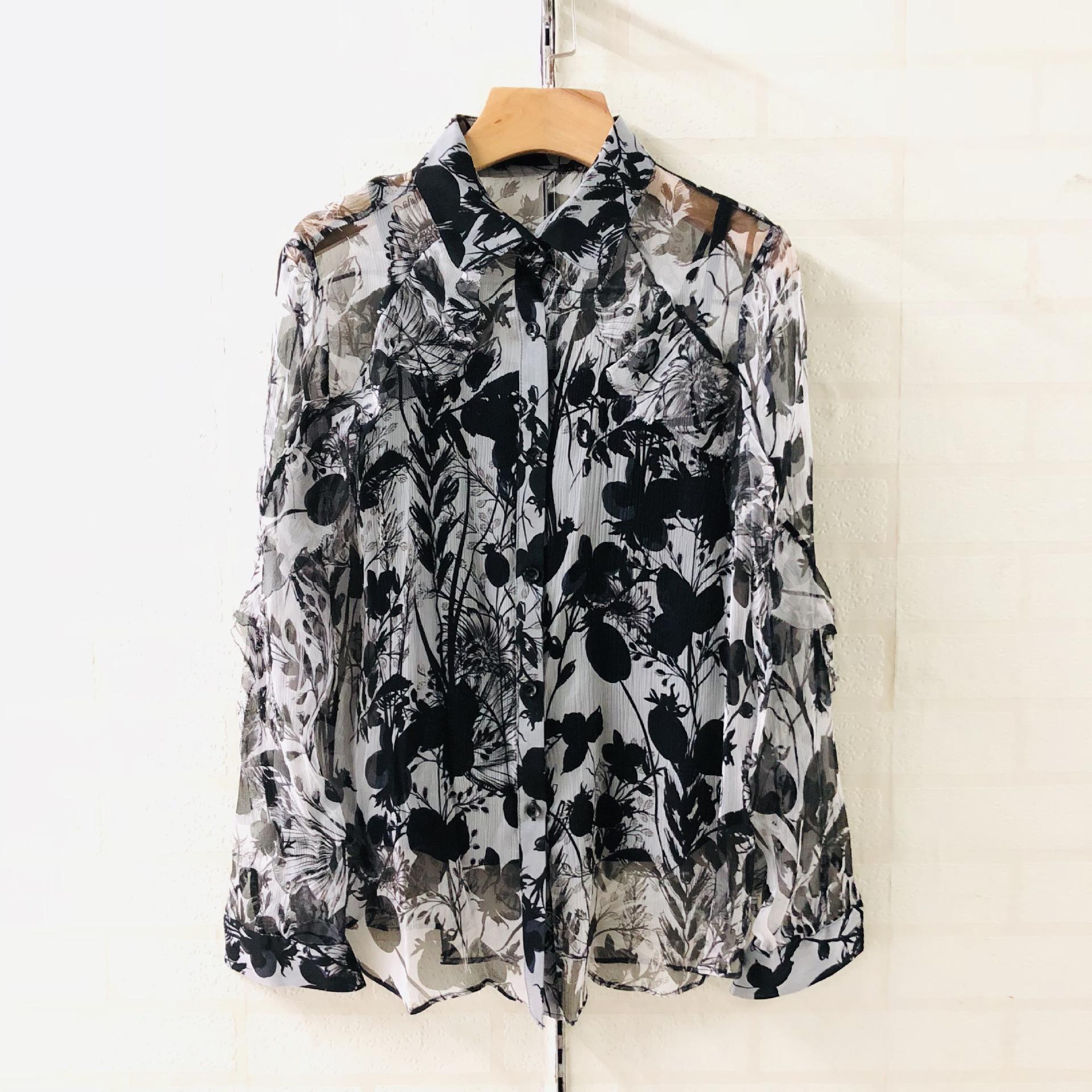 水墨画真丝衬衣长袖两件套女装南油原创设计尾单批发2019070600