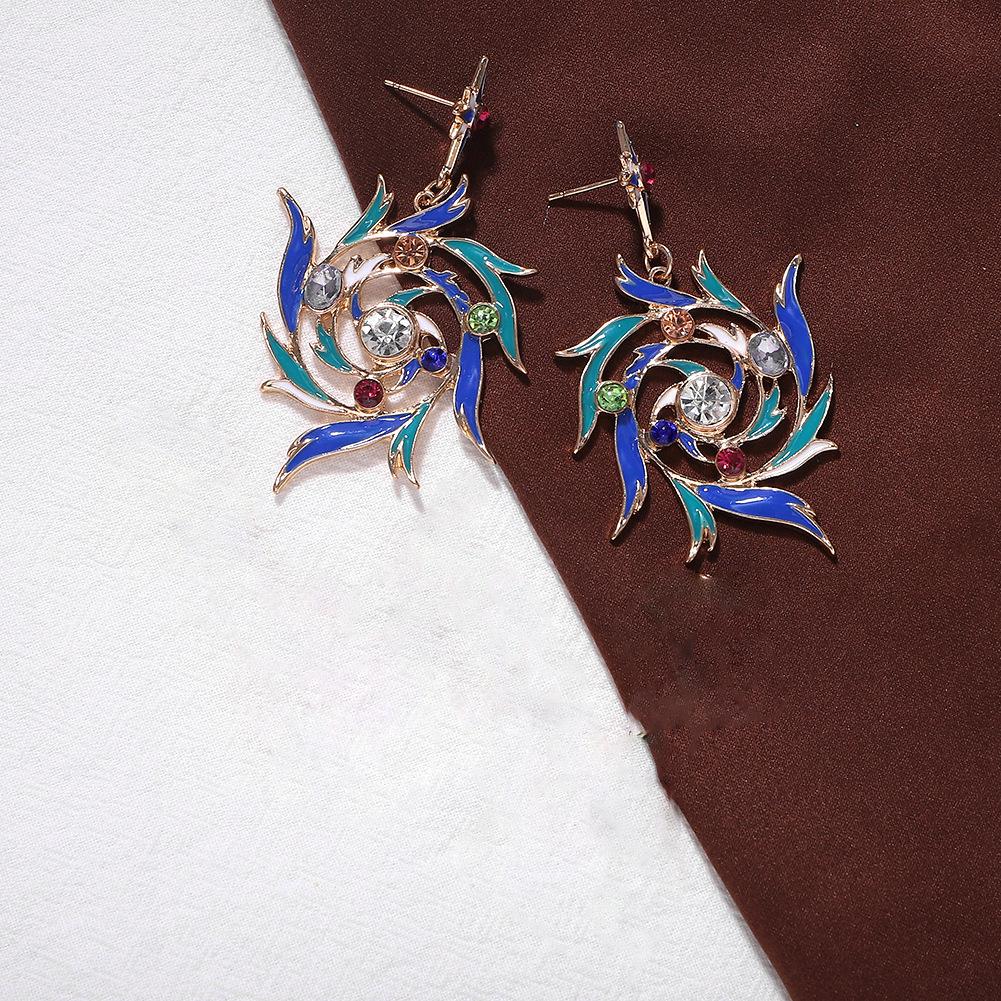 Alloy Diamond Cyclone Leaf Earrings Vintage Colorful Earrings Fall Winter NHJQ176167