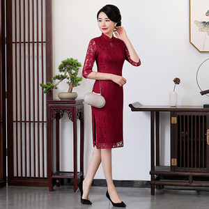 Cheongsam mother-in-law ceremonial dress Chinese Dress Qipao for women