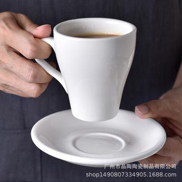 咖啡杯碟套装 陶瓷创意 欧式咖啡杯纯白 简约咖啡杯 可定制杯子