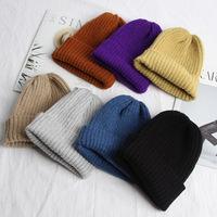 Корейская версия той же шерстяной шапки GD, женская осенне-зимняя новая мохеровая керлинг, однотонная вязаная шапка из дикой природы, мужская холодная шапка прилив