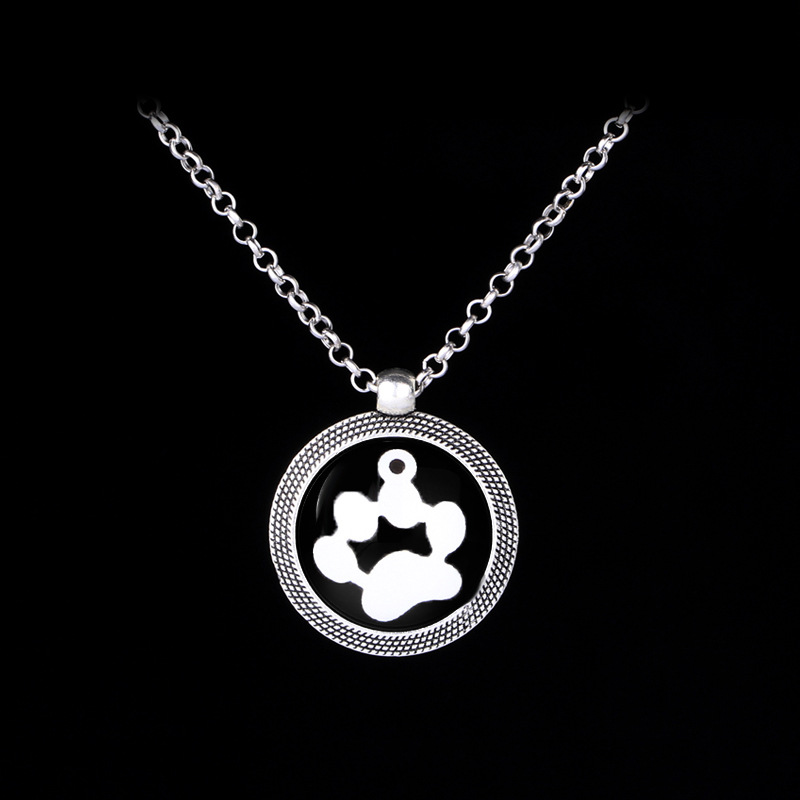 New fashion round cat claw necklace European and American creative cute pet luminous dog claw pendant necklace NHMO208186