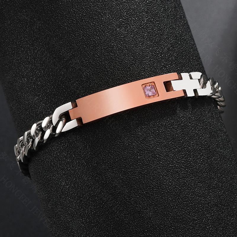 Jane Lettering Bracelet Stainless Steel Chain Diamond Couple Bracelet NHHF176038