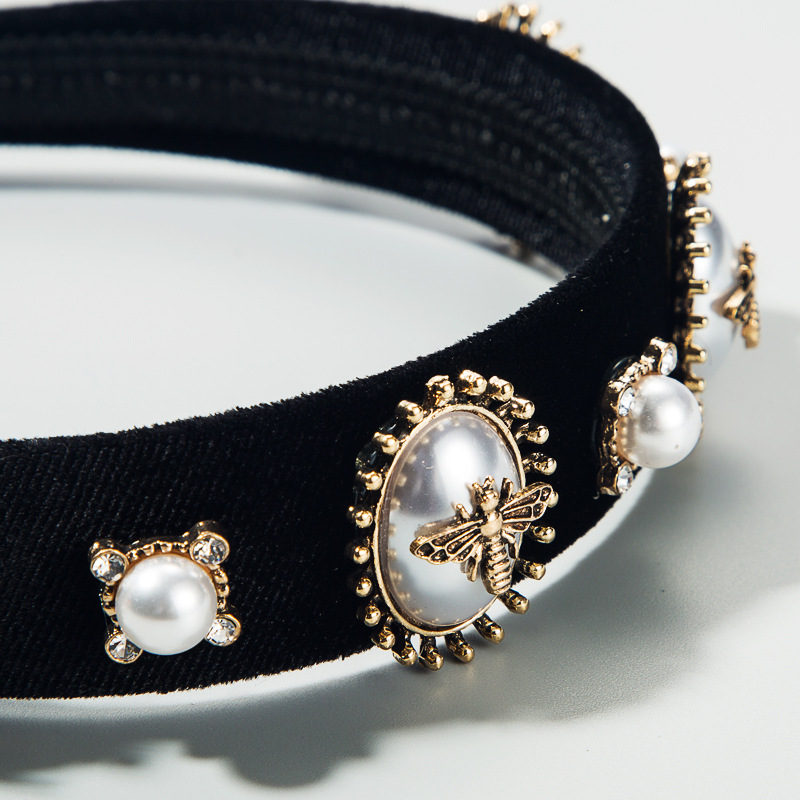 Baroque style hair accessories black gold velvet with rhinestone alloy bee and pearl female hair hoop NHLN188275