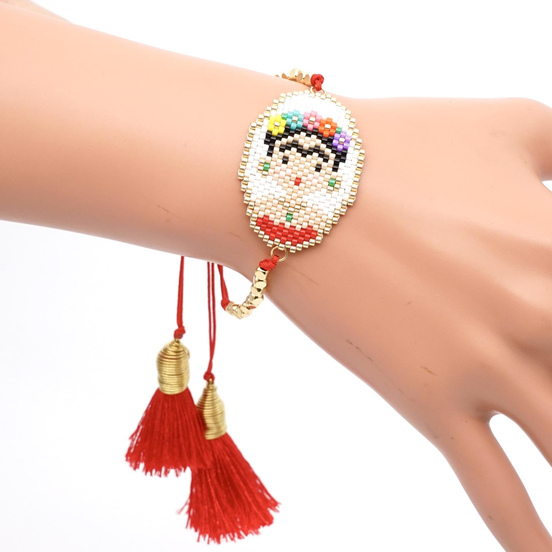 Trendy simple rice beads woven tassel bracelet NHGW139796