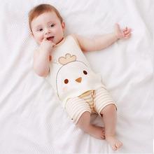 彩棉卡通刺绣婴幼儿两件套小童背心套装 夏季彩棉宝宝衣服0-3岁