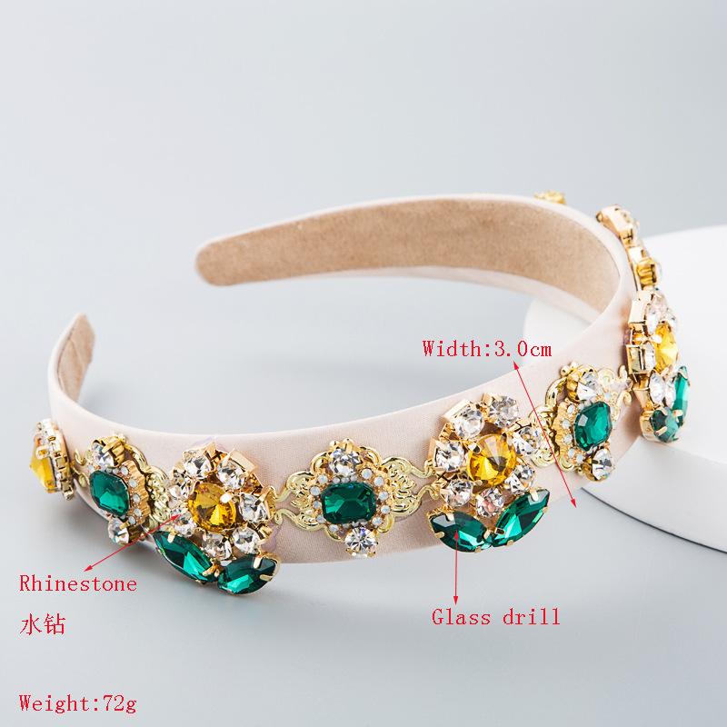 Headband women Baroque fashion personality wild fabric sun flower with rhinestone glass headband NHLN180661