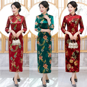 Chinese Dresses Qipao for women robe chinoise cheongsam Seasonal cheongsam with plush warm and thick gold velvet long printed retro standing collar cheongsam dress