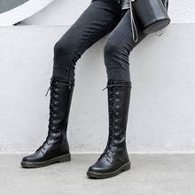 2019冬新款女鞋森女圓頭低跟女靴真皮系帶高筒靴粗跟成型底馬丁靴