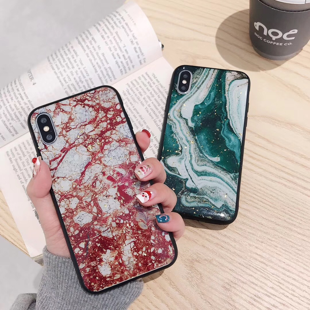 Emerald Applicable Apple xsmax Mobile Shell Marble Pattern iPhone8plus Silicone Soft xr Women's Tide Brand