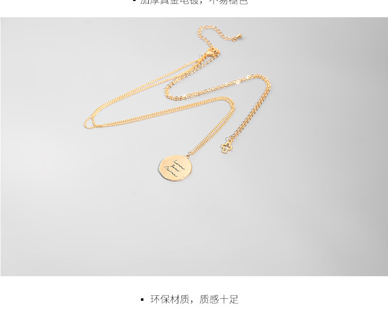 Coin three-layer cross necklace women's clavicle chain wholesale fashion jewelry NHLL181530
