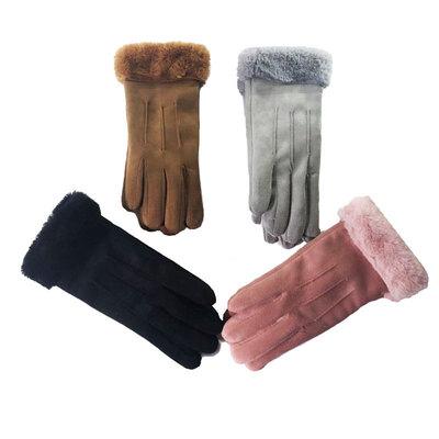 冬季新款户外麂皮绒女士手套保暖学生可爱韩版触屏加绒一件代发