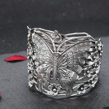 s999纯银夸张手镯女复古蝴蝶小花宽版手工编织镯子民族风个性手环