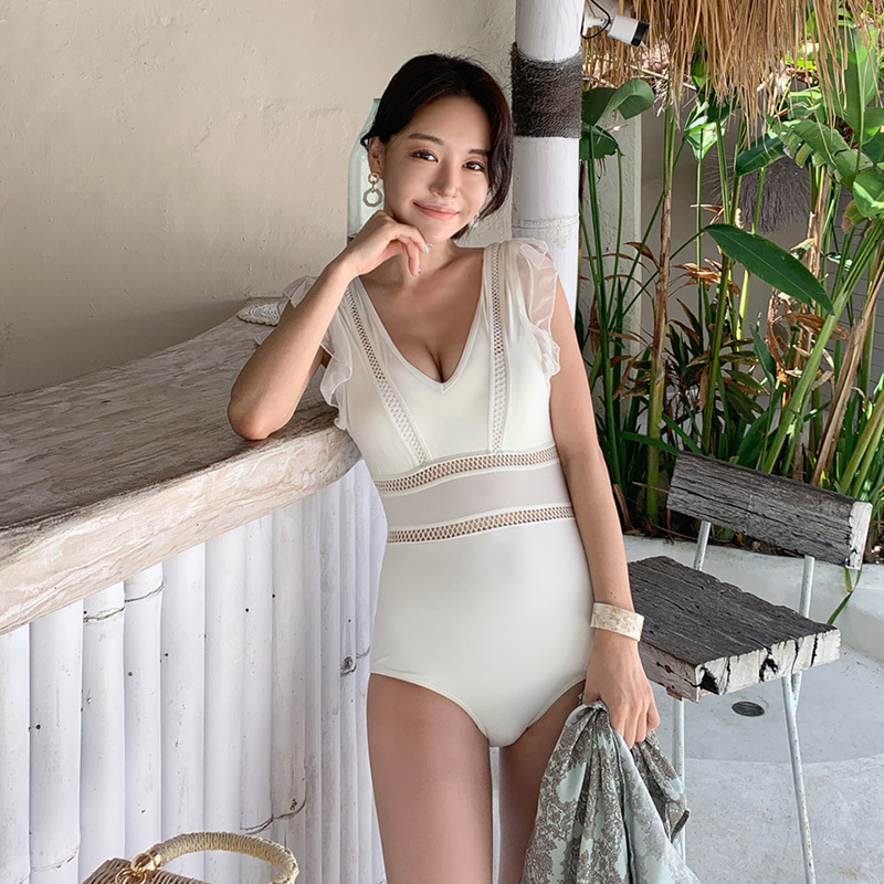 New one-piece female sense v-neck underwire ruffled hollow triangle swimsuit NHHL199968