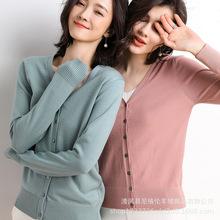 2019秋季新款女裝韓版上衣女式純色時尚v領高端針織衫開衫女短款