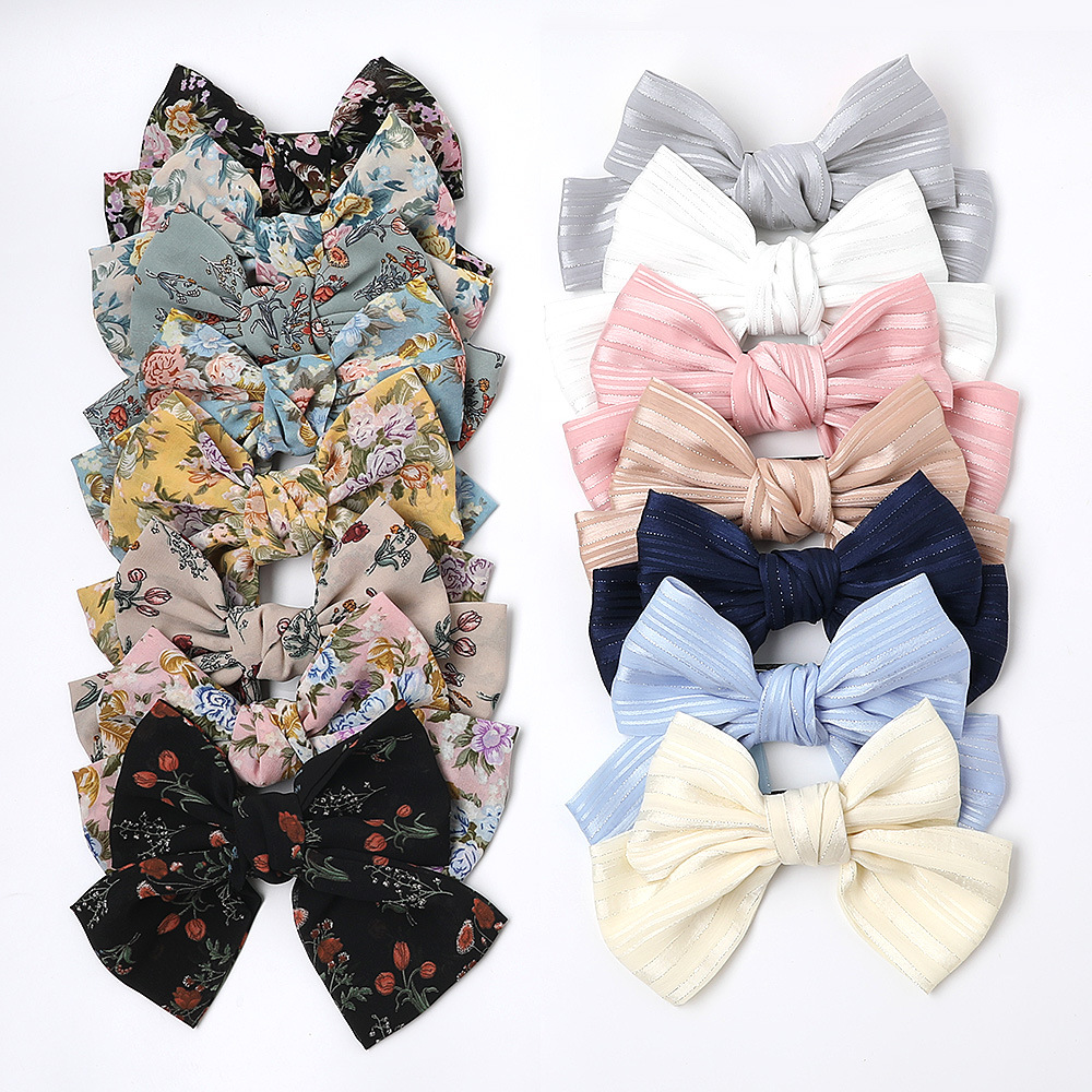 Silk Oversized Butterfly Spring Clip Wild Cloth Knotted Hair Clip Floral Cheap Top Clip Wholesale NHDM206663