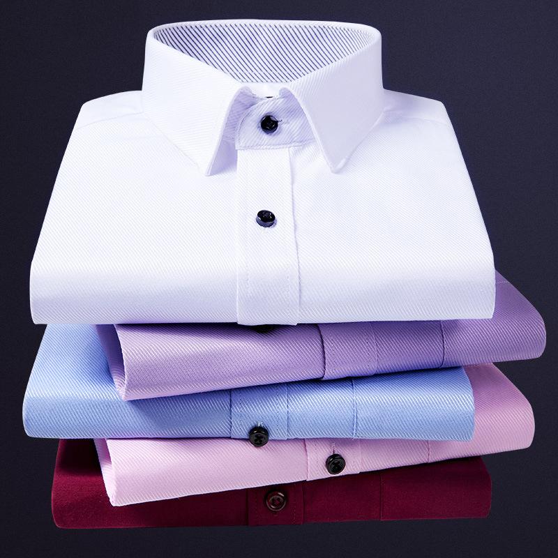 厂家直销商务男士工装衬衫男长袖衬衣职业纯色上班工作服衬衫批发
