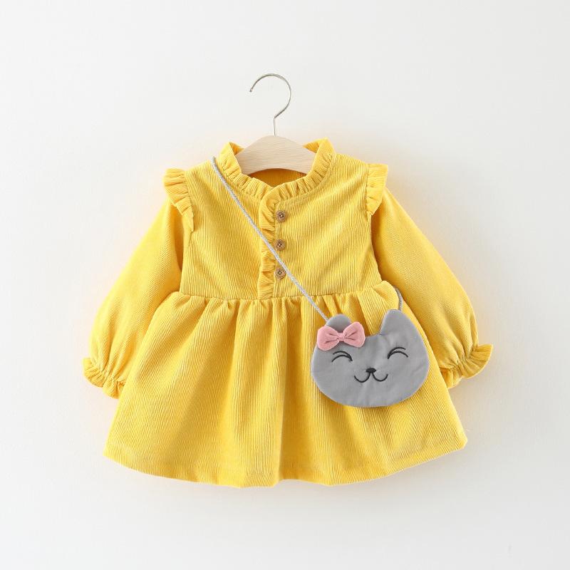 577童装批发春秋款女童长袖裙衫小童装纯色打底裙 送小猫挎包代销