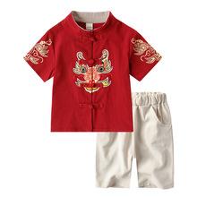 唐装儿童女童汉服春男童中国风短袖套装2019中小童古装棉麻两件套