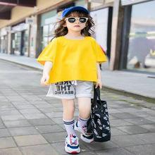 女童夏季时尚纯棉短袖套装新款女孩T恤字母运动休闲孩两件套代发