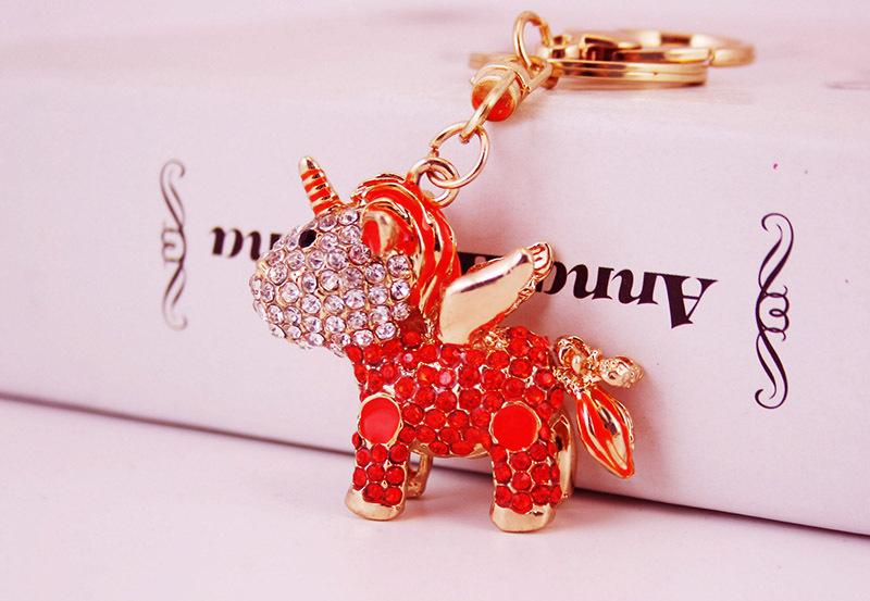 Creative cute diamond unicorn car pendant keychain  NHAK267064