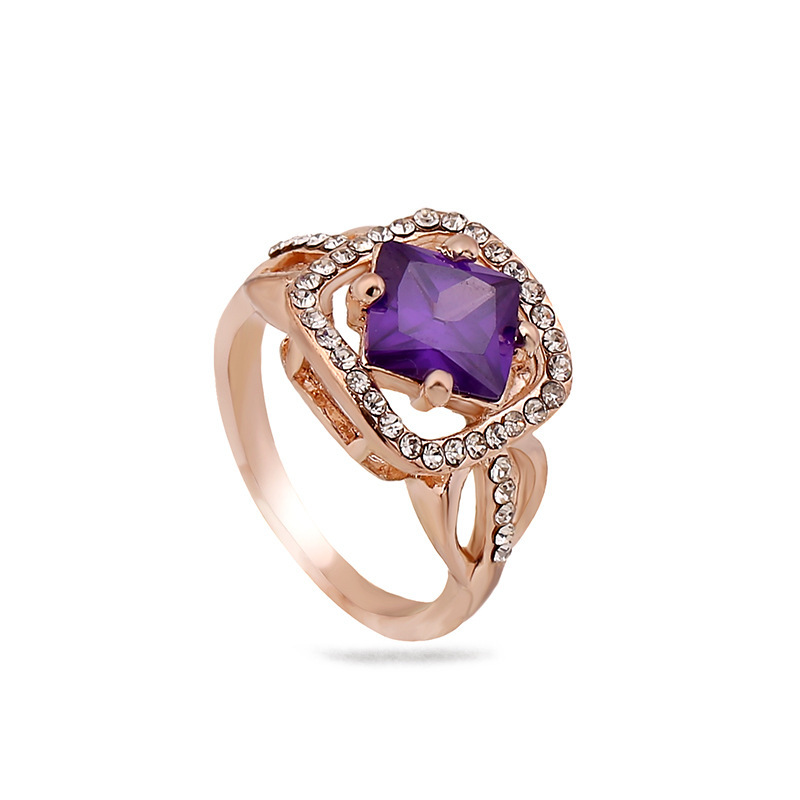 Amethyst explosion ring fashion OL color gold belt diamond square jewelry NHKQ175982