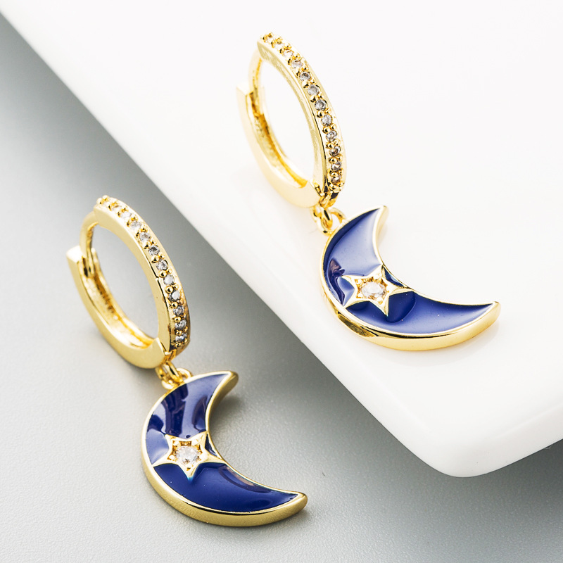 Simple earrings dripping oil moon stars copper zircon rainbow earrings women NHLN185729