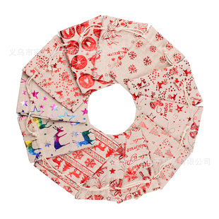 Spot bronzing and printing gifts can hold apple Christmas bag, beam-mouth cotton linen cloth Christmas Eve Christmas candy bag