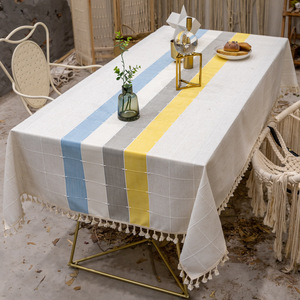 Tablecloth table cloth table cover Table European stripe cotton linen dustproof Christmas table custom made