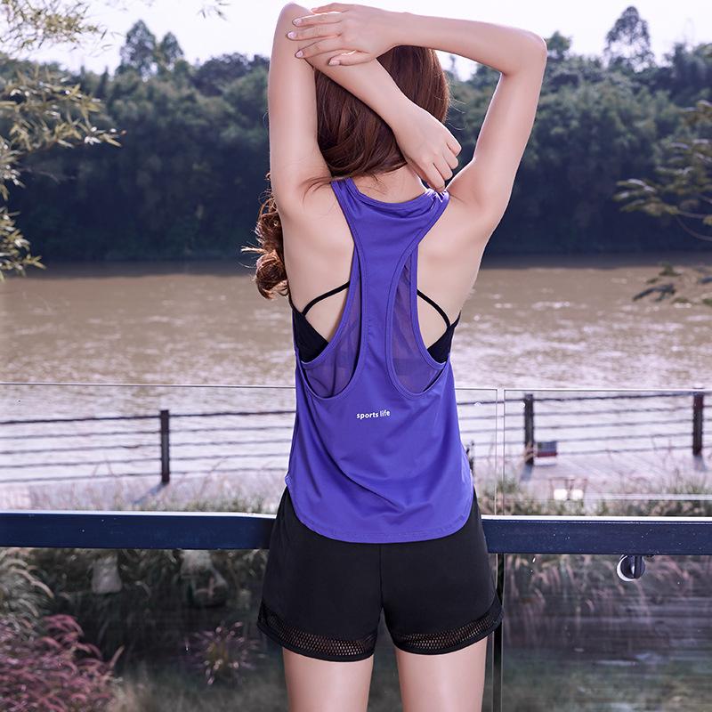 夏装新款瑜伽运动上衣女休闲健身跑步无袖宽松速干T恤女罩衫网布